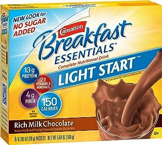 Carnation Breakfast Essentials Light Start Powder Drink Mix, Rich Milk Chocolate, Box of 8 Packets