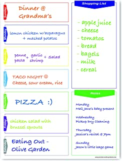 Magnetic Modern Menu Dry Erase Weekly Meal Planner Refrigerator Board With Grocery List And Notes (White)