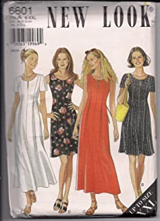 New Look 6601 Princess Seam Dress, Long or Short, Sleeve Variations Size A S-XXL
