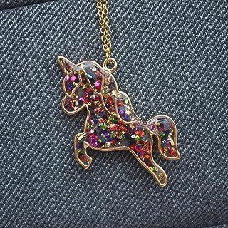 Unicorno Pegasus Colorate Gemme Blu Luminoso Si illuminano al buio Pendente Catena Placcato Oro 18k Collane