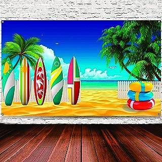 Surfboard Party Decorations Beach Backdrop Tropical Hawaiian Party Backdrop Banner Hawaiian Luau Beach Party Decorations Supplies, 72.8 x 43.3 Inch