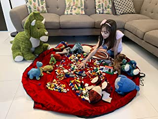 Ramsay Play Smart Toy Storage Bags, Building Bricks Storage Bag, Toys Organizer, Colorful Baby Play Mat, Playing Mats, Portable Toys Blanket Rug, Toy Bag Mat, (Red)