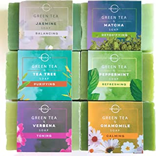 O Naturals 6-Piece Green Tea Herbal Essential oils Bar Soap Collection Moisturizing Face & Body Cleanser Anti Acne Aromath...