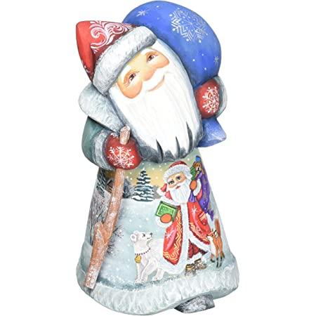 Amazon Com G Debrekht Delightful Merry Santa Hand Painted Wood Carving Home Kitchen