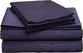 Superior 100% Premium Combed Cotton, 4-Piece Sheet and Pillowcase Cover Set, Solid, California King - Navy Blue