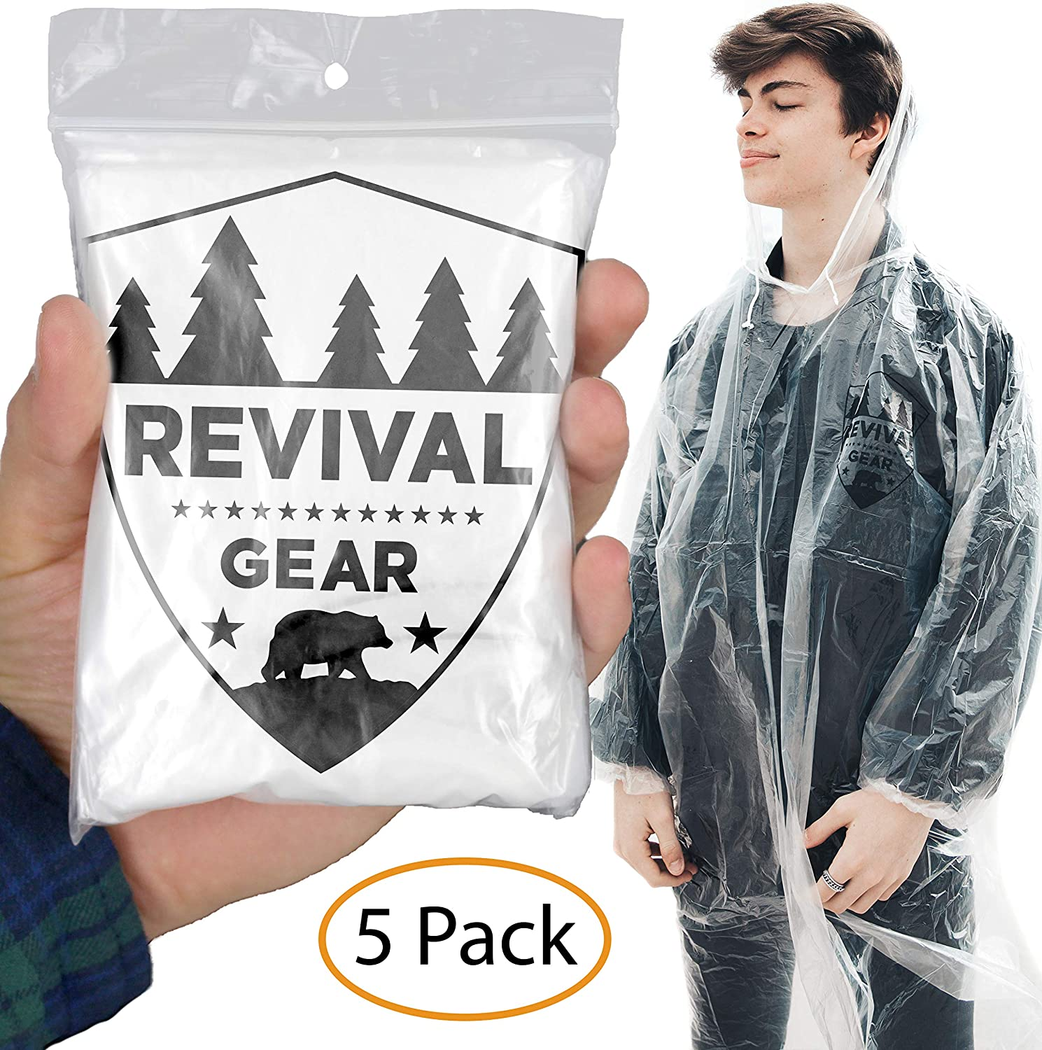 Revival Gear Disposable Rain Ponchos Challenge the lowest price Best Online limited product 5 Clear - Pack