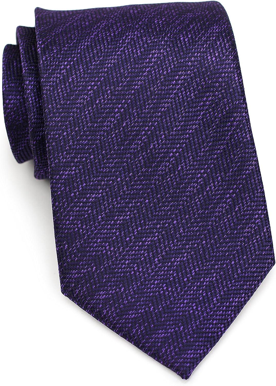 Bows-N-Ties Men's Necktie Woven Herringbone Microfiber Satin Tie 3.25 Inches