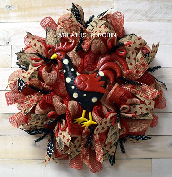 Farmhouse Wreath Rustic Rooster Wreath Country Wreaths 3714 2