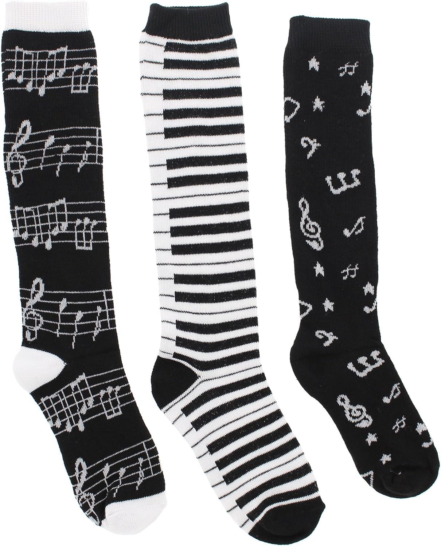 Girl's Black White Music Notes, Piano Keys, Instruments Knee High Socks, W(6-8) (3Pr)