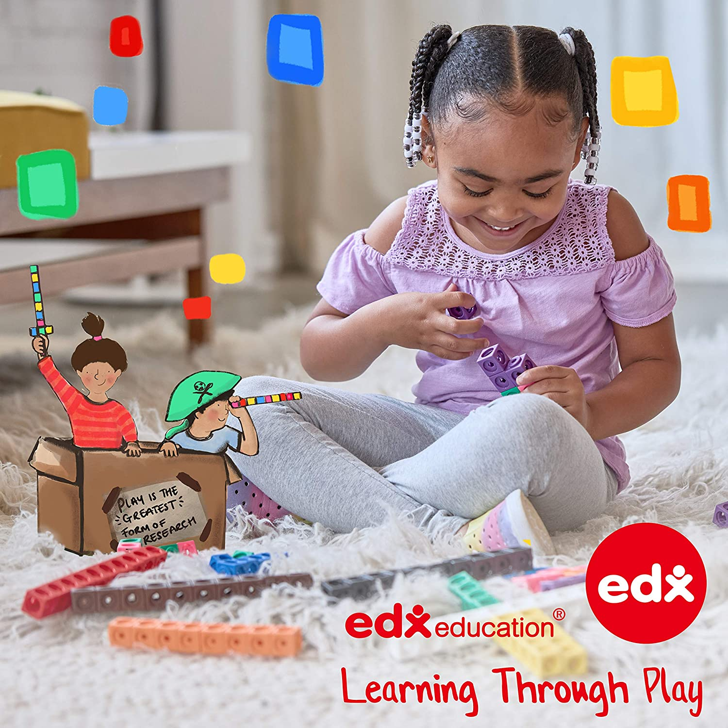 6 Piece Obstacle Course For Kids Edx Education Step-A-Trail Build Coordination Indoor and Outdoor Logs /& Stumps Physical and Imaginative Play