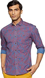 John Players Men's Printed Slim fit Casual Shirt