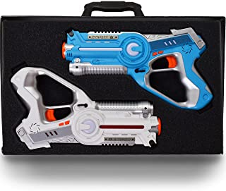 DYNASTY TOYS Family Games Laser Tag Set and Carrying Case - Blue/White Laser Tag Blasters for Birthday Parties and Family Events (2 Pack)