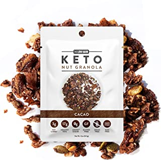 Low Karb - Keto Single Serve Nut Granola Healthy Breakfast Cereal (12 Pack) Low Carb Snacks & Food - 3g Net Carbs - On The Go Snack - Almonds, Pecans, Coconut, and more (12 x 1.2 oz) (Cacao)
