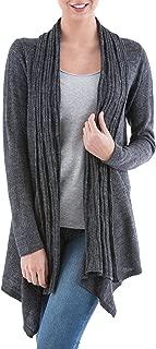 NOVICA Grey Alpaca Wool Blend Long Sleeves Cardigan Sweater, Waterfall Dream'