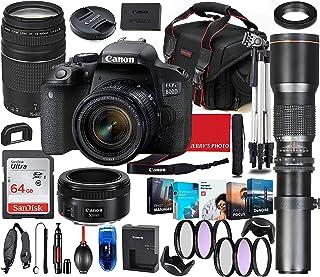 Canon EOS 800D (Rebel T7i) デジタル一眼レフカメラ 4レンズバンドル Canon 18-55mm 75-300mm & 50mm f/1.8レンズ + 500mm プリセット望遠レンズ + 64GBメモリ、ソフトウェア...
