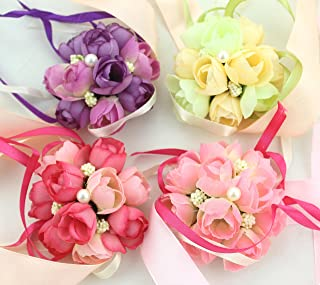Pack of 4 - FIVOENDAR Adorable Wedding Bridal Bridesmaid Exquisite Floral Wrist Flower Corsage for Girl Bridesmaid - Wedding Planner Wrist Corsage Hand Flower - 4 Colors, Red, White, Purple & Pink