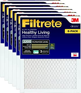 Filtrete MPR 2200 16 x 25 x 1 Healthy Living Elite Allergen Reduction AC Furnace Air Filter, Delivers Cleaner Air Throughout Your Home, Captures Microscopic Particles like Bacteria & Viruses, 6-pack