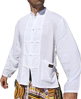 Raan Pah Muang RaanPahMuang 品牌浅人造丝衬衫 泰国制造长袖中国纽扣