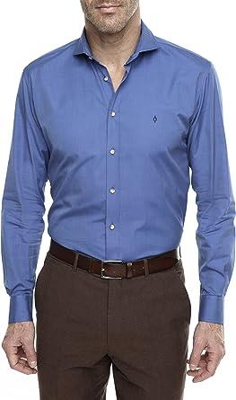 Caramelo, Camisa Regular con Cuello Cutaway, Hombre · Azul ...