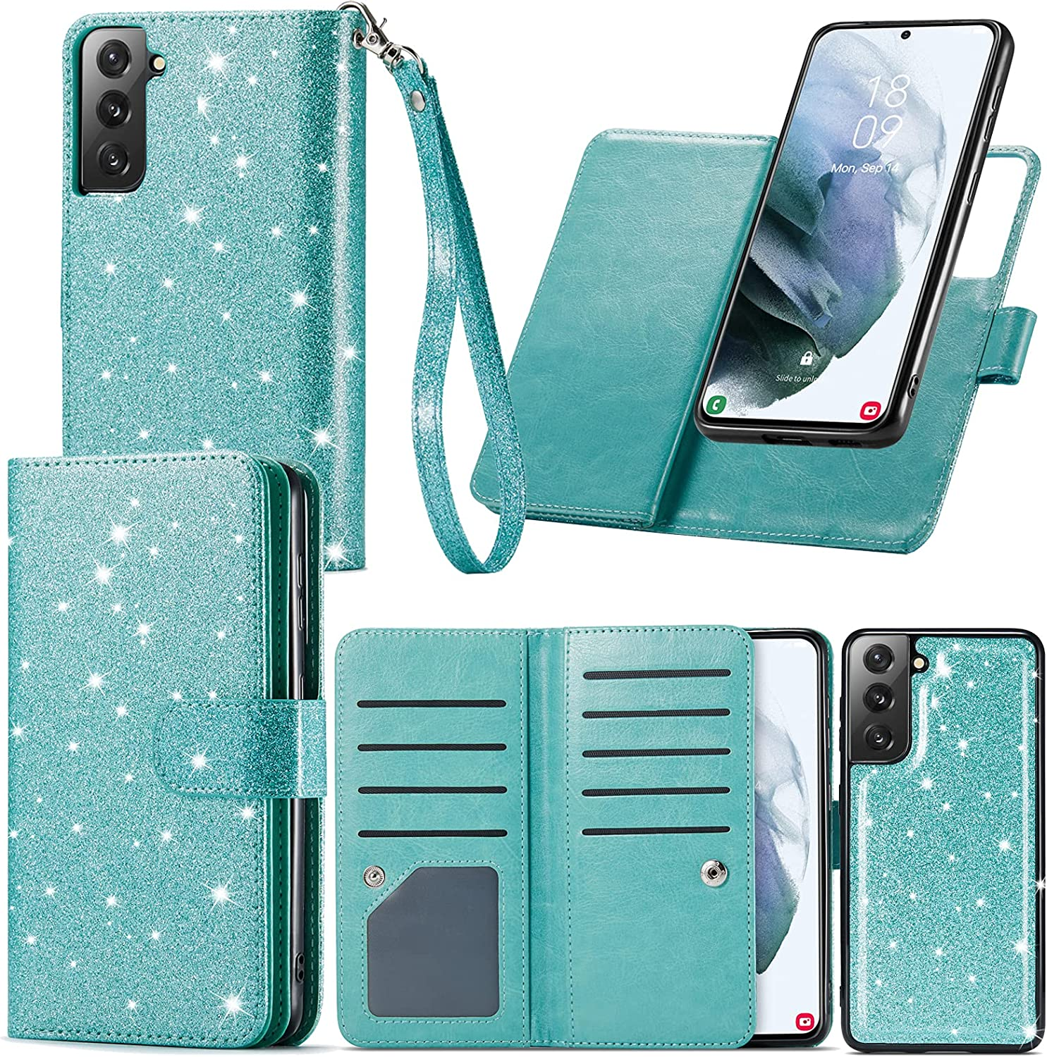 Varikke Samsung Galaxy S21 Case Wallet, Galaxy S21 Case with 9 Card Holder & Powerful Magnetic Detachable Cover & Kickstand Strap Lanyard Glitter PU Leather Flip Wallet Case for Samsung S21 6.2