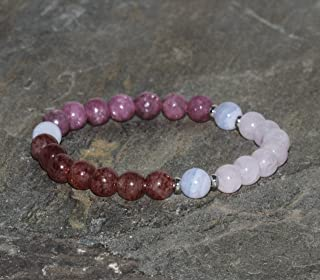 Dew Ladies Elasticated Stacking Bracelet with Rose Quartz Beads and Heart