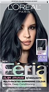 L'OrÃal Paris Feria Multi-Faceted Shimmering Permanent Hair Color, 411 Downtown Denim, 1 Count kit Hair Dye