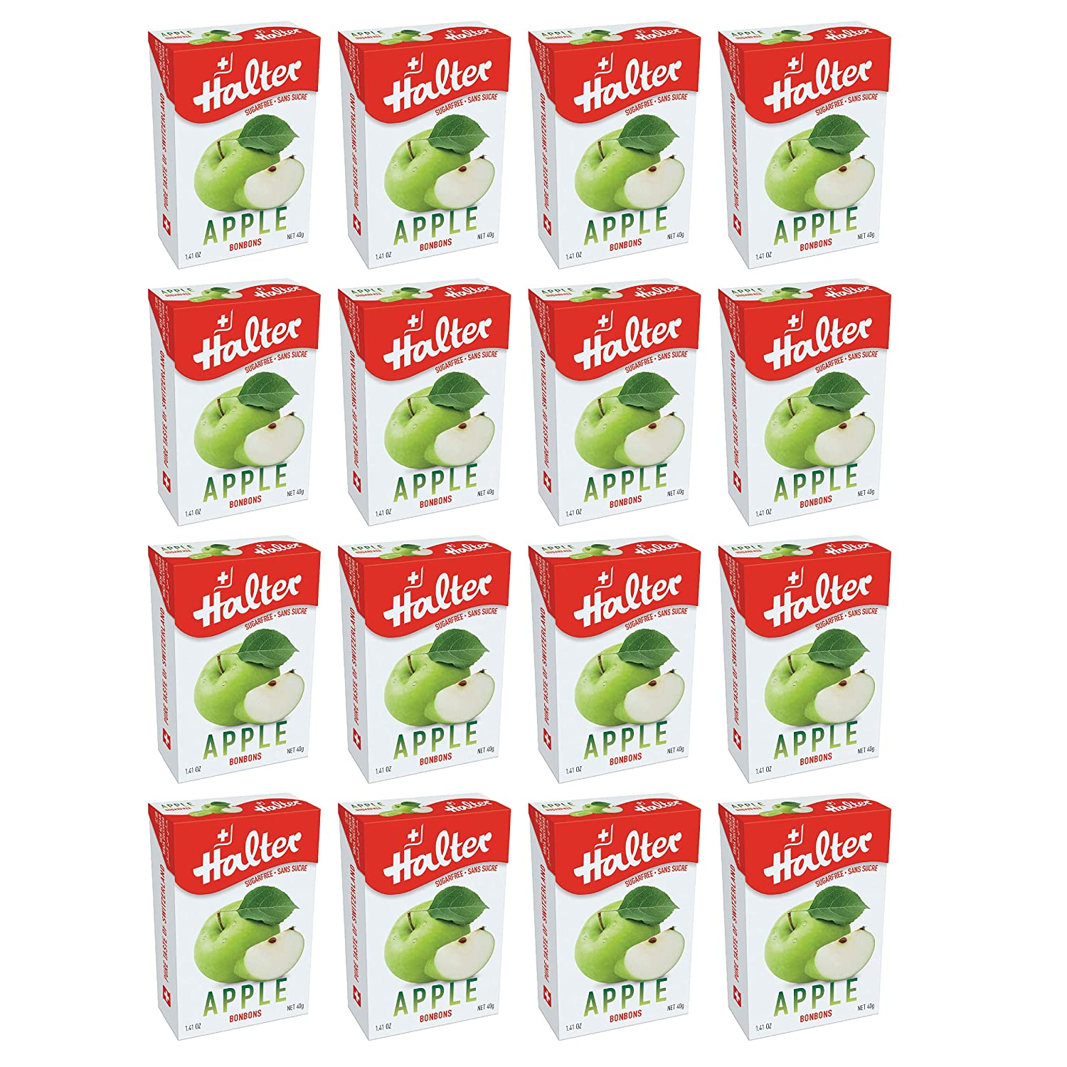 Halter Sugar Free Apple Bonbons Hard Candy Drops, 16 Boxes Per Package, 1.41-Ounce Packs
