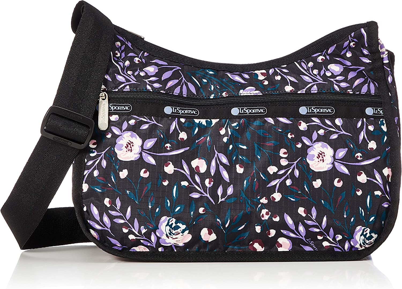 LeSportsac Classic Hobo Crossbody Handbag in Dancing Roses Noir