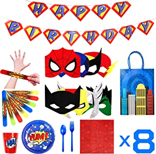 Superhero Party Supplies - Felt Masks for Kids -Superhero Birthday Party Favors Set - Slap Bracelets - Favor Bags - Banner and Decorations - Plates Cups Napkins Silverware