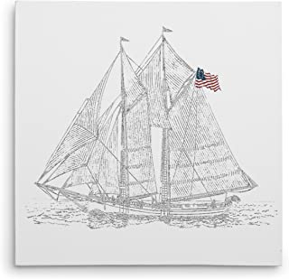 WEXFORD HOME Sail Boat Sketch Gallery Wrapped Canvas Wall Art, 16x16,