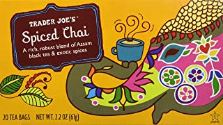 Trader Joe's Spiced Chai (A Rich, Robust Blend of Assam Black Tea & Exotic Spices), 20 Tea Bags (1 Box)