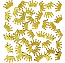 Famoby Gold Glittery Prince King Crown Confetti for Baby shower party decorations 100pcs/pack