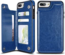 UEEBAI Case for iPhone 7 iPhone 8, Luxury PU Leather Case with [Two Magnetic Clasp] [Card Slots] Stand Function Durable Shockproof Soft TPU Case Back Wallet Flip Cover for iPhone 7/iPhone 8 - Blue