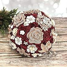 Abbie Home Handcrafted Brooch Bouquet Wedding Bridal Silk Rose - Advanced Sparkle Rhinestone and Pearl Jewelry Decor Bride Flower (Burgundy)