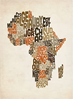 Africa Text Map by Michael Tompsett work, 22 by 32-Inch Canvas Wall Art