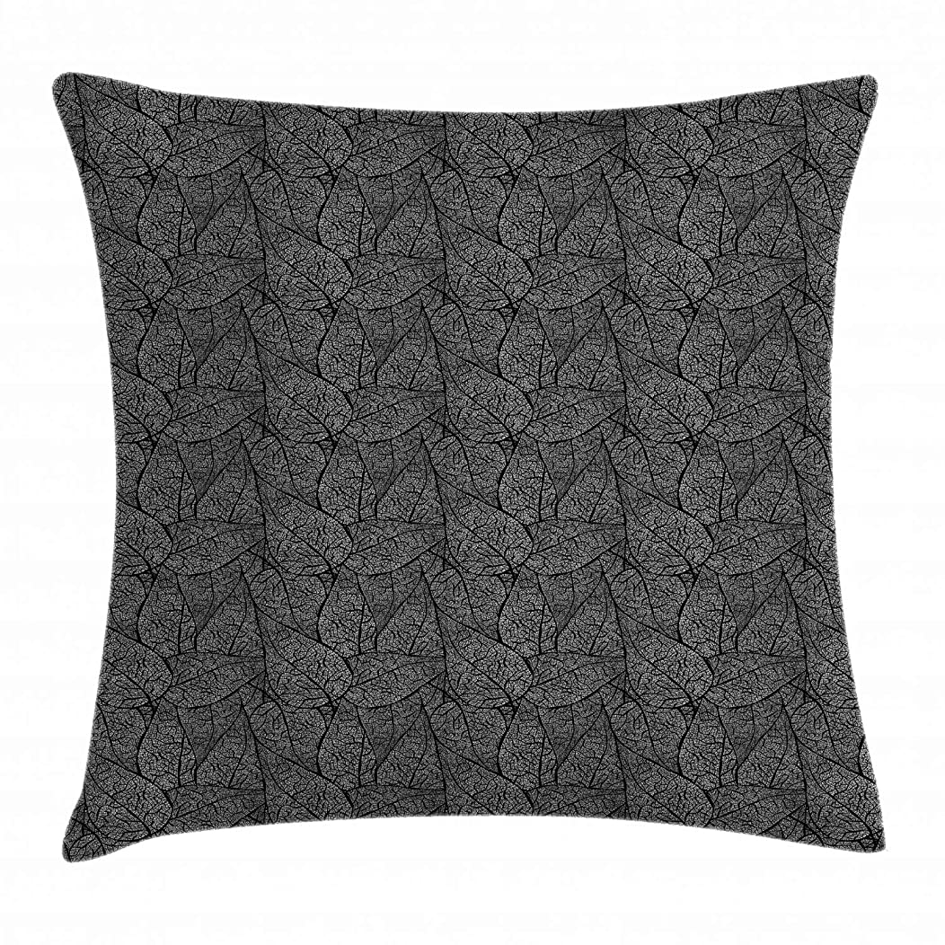 Ambesonne Abstract Throw Pillow Cushion Cover, Monochrome Leaves with a Web of Veins Swirled Design Ornamental Flora Pattern, Decorative Square Accent Pillow Case, 18 X 18 Inches, Black White