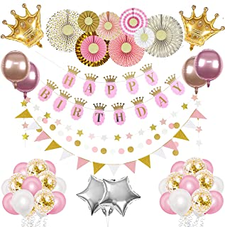 The Peacock Shop Princess Birthday Party Supplies Girl Pink and Gold Birthday Party Decorations with Princess Crown, Happy...