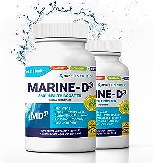 """Marine Essentials Vitamin D3 Omega 3 Fish Oil - """"Marine-D3"""" 340 mg Vitamin D3 DHA Anti Aging Omega 3 Fish Oil Dietary Supplement (120 Softgels)"""