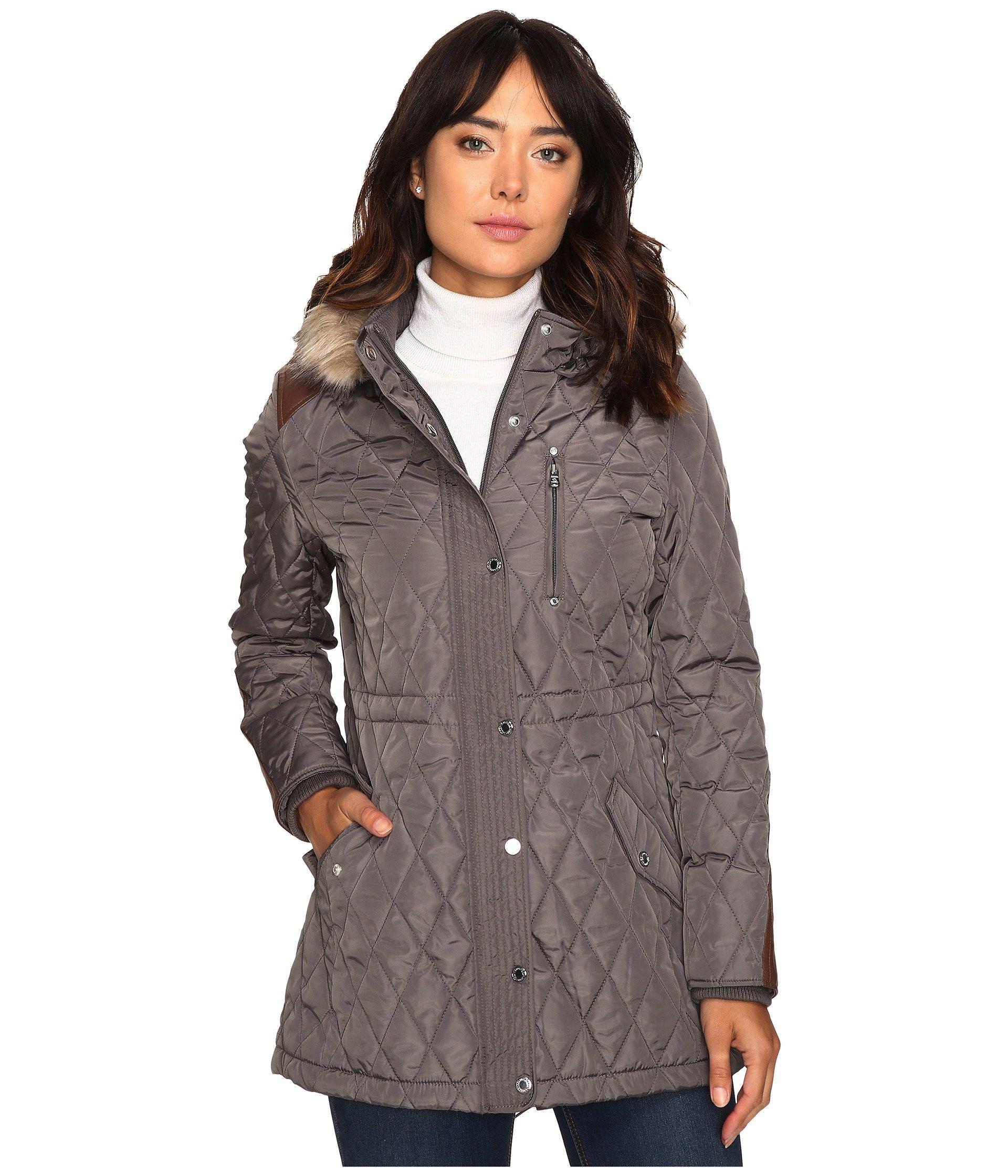 Faux fur shawl collar parka coat