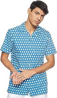 قميص رجالي بأكمام قصيرة مطبوع عليه أشكال هندسية من تومي هيلفجر