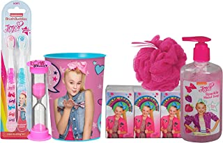 JoJo Siwa 12pc Girl's All Inclusive Bathroom Bundle! Toothbrush, Brushing Timer, Rinse Cup, Bath Scrubby, Facial Tissue & Sparkle Hand Soap!