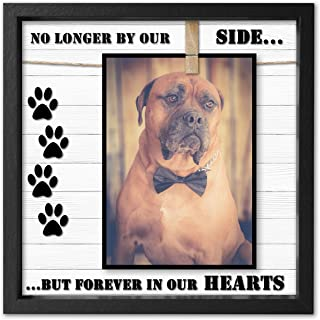Pet Memorial Picture Frame for Dog or Cat. Clever Design to fit 4x6 - 5x7. Loss of Dog or Cat Sympathy Photo Frame with Clip. Text