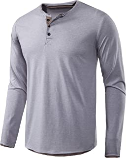 Mens Long Sleeve Casual Lightweight Fitted Basic Henley T-Shirt