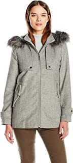 kensie Womens J9261 Short Duffle Coat with Front Plackets and Faux Fur Trimmed Hood Wool Coats