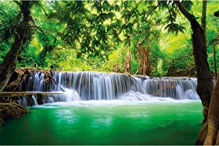 GREAT ART Large Photo Wallpaper – Thailand Waterfall – Picture Decoration Feng Shui Nature Jungle Scenery Paradise Vacatio...