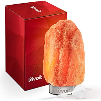 LEVOIT Kyra 6.5 lbs Kyra, Himalayan/Hymilain Sea Crystal Salt Rock Lamp, Night Light, 18/8 Stainless Steel Base, Dimmable Touch Switch, Holiday Gift, Kyra, Pink Orange