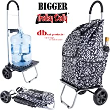 dbest products Bigger Trolley Dolly, Damask Shopping Grocery Foldable Cart