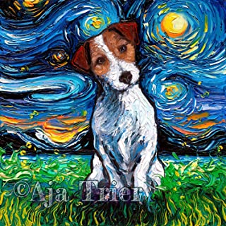 Jack Russell Terrier Starry Night van Gogh Art Ready to Hang Canvas Wall print colorful dog art Aja 8x8, 10x10, 12x12, 16x16, 20x20, 24x24, 30x30 inches artwork