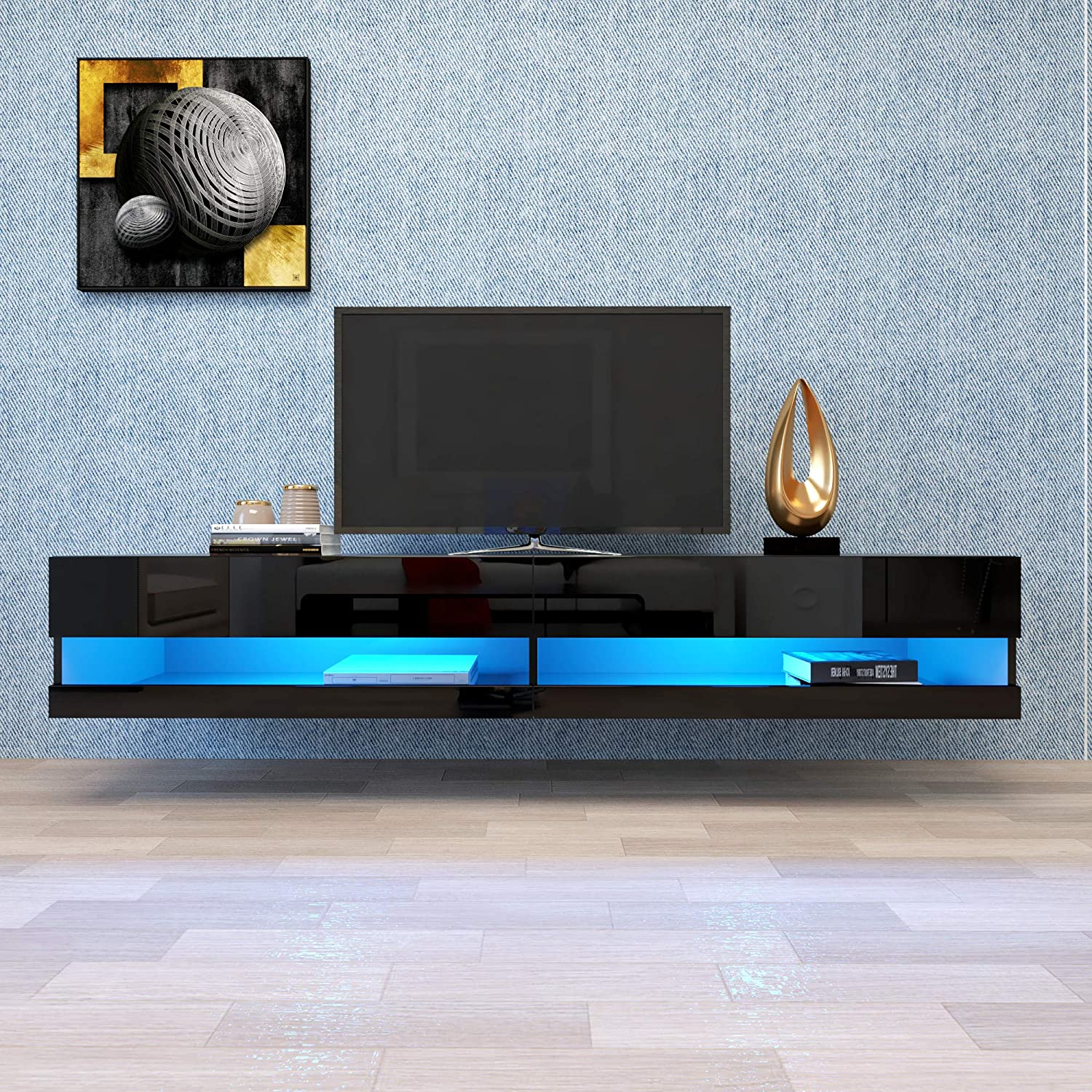 Floating TV Stand LED Effects Wall Mounted Entertainment Center Living Room Console Table Large Storage Cabinet (Black A)