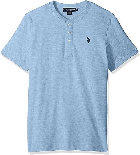 U.S. Polo Assn. Hommes's manche courte Henley Solid T-Shirt, Sea bleu Heather KJBC, S